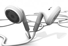 White earphones. 3d render music concept white earphones Stock Photos