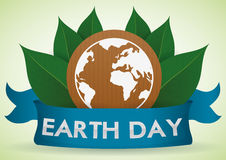 White Earth in Cardboard with Leaves behind Earth Day Ribbon, Vector Illustration Royalty Free Stock Images