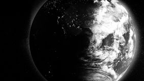 White Earth planet half covered by shadow rotating on black background, abstract scientific background. Beutiful. Monochrome planet spinning in space, the vector illustration