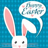 White Easter Bunny Ears - Happy Easter. White Easter Bunny Ears On Blue Background   Vector Happy Easter Stock Image