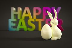 White easter bunny figure. 3d illustration of a white easter bunny figure with colorful message Royalty Free Stock Image