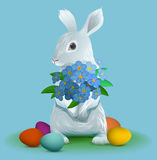White easter bunny holding bouquet flowers of violets Stock Photography