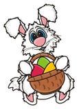 White Easter Bunny holding Easter basket Stock Photo
