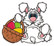 White Easter Bunny holding Easter basket Stock Image