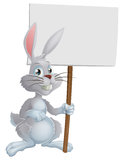White Easter bunny holding sign Stock Photos
