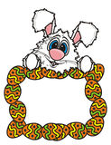 White Easter bunny peeking out of a frame of eggs Royalty Free Stock Photo