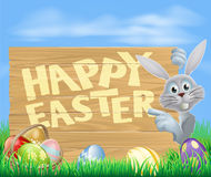 White Easter bunny pointing at sign Royalty Free Stock Images
