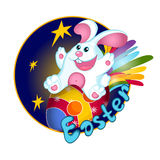 A white Easter bunny rabbit flies on an Easter egg, decorated like a space rocket. Rainbow tail and stars. Greeting card. Funny ch Stock Photo