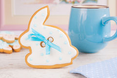 White Easter bunny rabbit gingerbread cookie Stock Photos