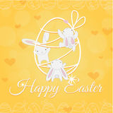 White Easter Bunny welcome and climber royalty free stock photo