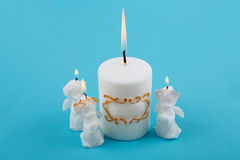White Easter candles in the shape of angels. Stock Image
