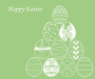 White easter egg on green background. Set of white easter egg on green background vector illustration