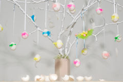 Easter eggs on tree Royalty Free Stock Photography