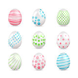 White Easter eggs with decorated elements Royalty Free Stock Images