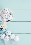 White Easter eggs and flowers Royalty Free Stock Photo