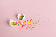 White Easter eggs on a light pink background Stock Photography