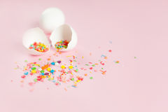 White Easter eggs on a light pink background Stock Image