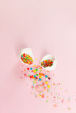 White Easter eggs on a light pink background minimalistic design Royalty Free Stock Photography