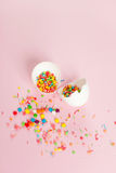 White Easter eggs on a light pink background minimalistic design Stock Photography