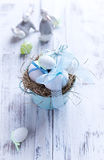 White Easter Eggs in a Nest Royalty Free Stock Photos
