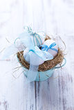 White Easter Eggs in a Nest Stock Photography