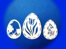 White Easter eggs. Paper cutting Stock Images
