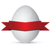 White Easter eggs with red ribbon Royalty Free Stock Image