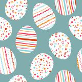 White Easter eggs seamless pattern with simple pink, orange, red, blue stripes, patterns points, confetti, waves. Flourishes. Can be used for for wrapping royalty free illustration
