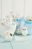 White Easter eggs in a white pot. Royalty Free Stock Images