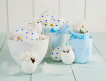White Easter eggs in a white pot. Royalty Free Stock Photography