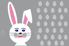 White Easter rabbit on eggs grey background Stock Images