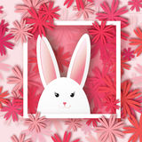 White Easter rabbit on floral background. Origami Red Greeting card with Happy Easter - with white Easter rabbit on floral background stock illustration