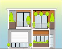 White ecological house. house of the future. Simple design. building blocks Vector Illustration