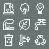 White ecology web icons Royalty Free Stock Photos