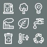 White ecology web icons Royalty Free Stock Photos