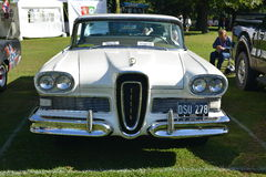 White Edsel Citation American classic collectors car. Classic American vintage collectors car Edsel Citation  on display at Rotherham show in South Yorkshire UK Royalty Free Stock Photos