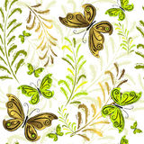 White effortless floral wallpaper. With green and golden butterflies Stock Photography