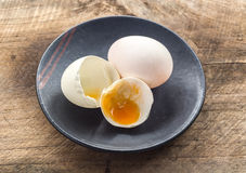White egg and black plate Stock Photography