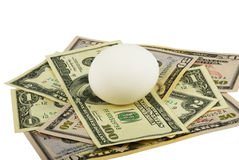 White Egg And Dollars. The white egg lays on dollars bills. Isolated on white. Image is processed from 16 bit NEF files Royalty Free Stock Photo