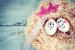 White egg with funny face Stock Image