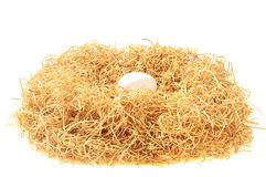 White egg in a nest Royalty Free Stock Photos