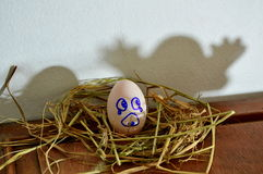 White egg on the nest and ghost shadow Stock Photography