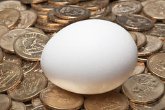 White egg resting on gold US dollar coins. With image of native american sacajawea Stock Image