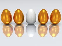 White egg in a row of golden eggs. 3D. White egg in a row of golden eggs. 3D render. Easter, out of crowd, business concept Royalty Free Stock Image