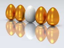 White egg in a row of golden eggs. 3D. Stock Photo