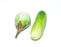 White Eggplant and cucumber Stock Image