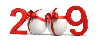 White eggs. Red 2009 on white background vector illustration