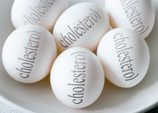 White eggs with Cholesterol text - health and healthy lifestyle Royalty Free Stock Images