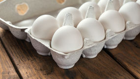 White eggs close up. Selective focuse Stock Images