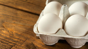 White eggs close up. Selective focuse Stock Photography